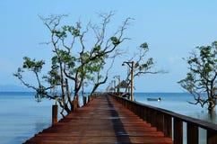 Pont en bois enjambant la mer Images stock