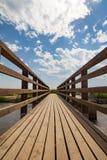 Pont en bois sur la perspective de disparaition de point de forêt Photo libre de droits