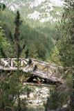 Pont en bois sur Mt Olympe Grèce du nord Photos stock
