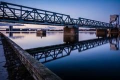 Pont en chemin de fer, Aalborg images stock