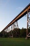 Pont en chemin de fer au-dessus de champ d'herbe Photos stock