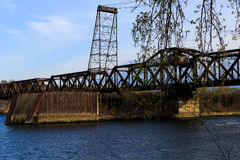 Pont en chemin de fer de vintage en dehors d'Albany NY Photos libres de droits