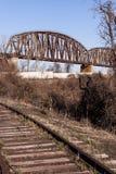 Pont en chemin de fer du Caire - la rivière Ohio, Kentucky et le Caire, l'Illinois photos libres de droits