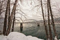 Pont en chevalet encadré par arbre d'hiver photo stock