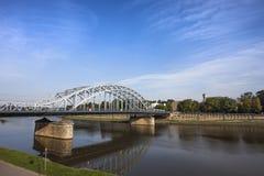 Pont en fer à Cracovie, Pologne Image stock