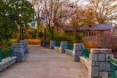 Pont en parc de Piémont, Atlanta, Etats-Unis Photos libres de droits