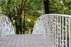 Pont en parc de ville balustrades avec les serrures accrochantes d'amour Photographie stock