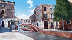 Pont en pierre au-dessus de canal étroit de l'eau à Venise illustration stock