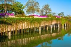 Pont en pierre en parc avec le lac sur le ciel bleu Photo libre de droits