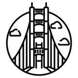 Pont en porte d'or, San Francisco, Etats-Unis D'isolement sur l'illustration blanche de vecteur de fond illustration de vecteur