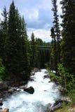 Pont en route au-dessus de crique de lac Images stock
