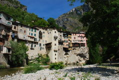 Pont-en-Royans village, Vercors France. Pont-en-Royans, France. View of the old village centre stock photography