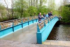 Pont en serrure d'amour, Bakewell, Derbyshire Image libre de droits