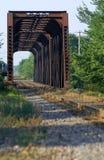 Pont en train sur des iles de mille de DES de riviere, Canada images libres de droits