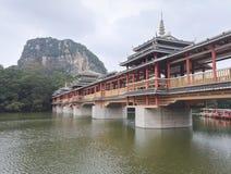Pont en vent et en pluie à Liuzhou Photos stock