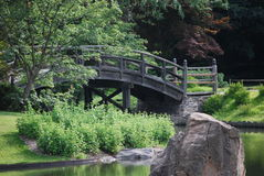Pont et étang Image stock