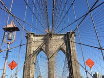 Pont et câble de Brooklyn Photos stock