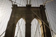 Pont et câble de Brooklyn Photos libres de droits