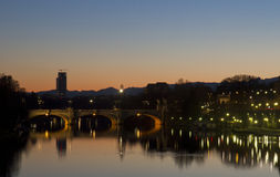 Pont et Murazzi d'Umberto I Images libres de droits