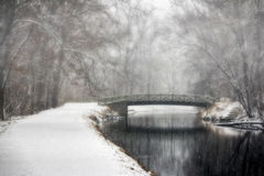 Pont et traînée dans le paysage d'hiver Photo libre de droits