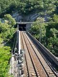 Pont et tunel en chemin de fer photographie stock