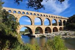 pont för akveduktdu gard Arkivbilder