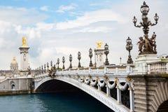 pont för alexandre bro iii paris Arkivbilder