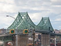 Pont Jacques Cartier bridge taken in the direction of Montreal, in Quebec, Canada on the Saint Lawrence river, royalty free stock photo
