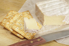 Pont l'eveque cheese and biscuites Stock Images