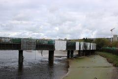 Pont Lancaster de lévrier fermé et sous la réparation Image libre de droits