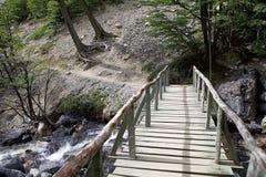 Pont le long de la traînée à Torres del Paine au parc national de Torres del Paine, Patagonia chilien, Chili image stock