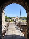 Pont-levis de château de Jagua Photographie stock