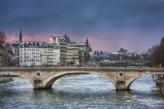 Pont Louis-Philippe in twilight Stock Image