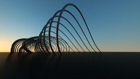 Pont moderne incurv? au pont moderne courbant r?aliste dimensionnel du coucher du soleil 3 au coucher du soleil photo stock