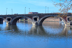 Pont Neuf across Garonne, Toulouse. Pont (Bridge) Neuf (XVII c.) across Garonne, Toulouse, France Royalty Free Stock Photo