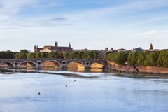 Pont Neuf and Basilica of St. Sernin in Toulouse. Toulouse, Occitanie, France Royalty Free Stock Photo