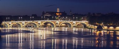 Pont Neuf and Basilica of St. Sernin in Toulouse. Toulouse, Occitanie, France Royalty Free Stock Image