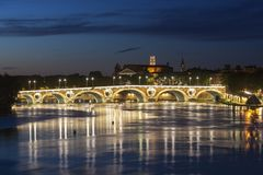 Pont-Neuf and Basilica of St. Sernin in Toulouse. Toulouse, Occitanie, France Royalty Free Stock Photography