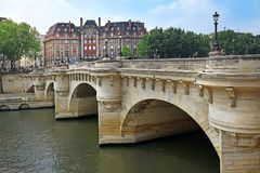 Pont Neuf, Bridge Which Crosses The Seine River In Paris, France Royalty Free Stock Image