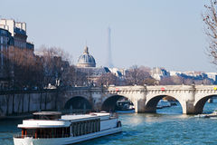 Pont Neuf with Eiffel Tower and French Academy Stock Photos