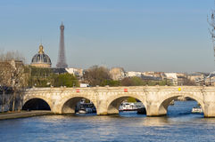 The Pont-Neuf and the Eiffel Tower in Paris Stock Photo
