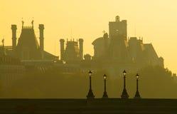 Pont Neuf, hôtel de ville en début de la matinée, Paris Image libre de droits