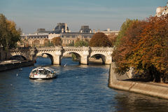 The Pont Neuf New Bridge and Seine river Paris, France. The Pont Neuf New Bridge, the oldest standing bridge across the river Seine in Paris, France Stock Photos