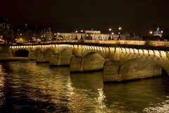 Pont neuf in the night. Illuminated, Paris, France Royalty Free Stock Image