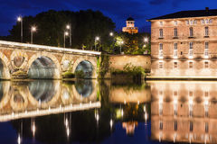 Pont Neuf in Toulouse. Pont Neuf and old water tower in Toulouse. Toulouse, Occitanie, France Stock Images