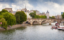Pont Neuf, the oldest bridge across Seine in Paris, France Royalty Free Stock Image