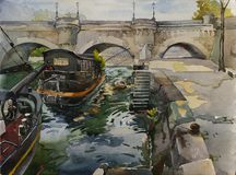 Pont Neuf in Paris with embankment and ships on the Sena river,. Original watercolor illustration France landscape Royalty Free Stock Photos