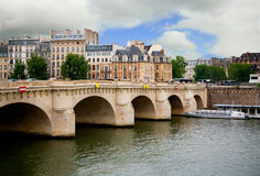 Pont Neuf, Paris, France. The name of this bridge is Pont Neuf (French  for New Bridge). Ironically it is the oldest standing bridge across the river Seine in Stock Image
