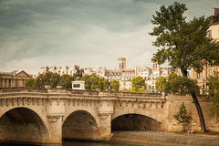 Pont Neuf in Paris. Vintage toned photo Stock Photos