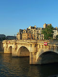 Pont neuf at sunset, Paris, France june 2013. The oldest standing bridge over the Seine river in Paris Royalty Free Stock Photo